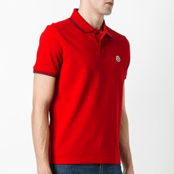a75d625e MONCLER Shirts | Polo Shirt Cotton Solid Red Medium | Poshmark